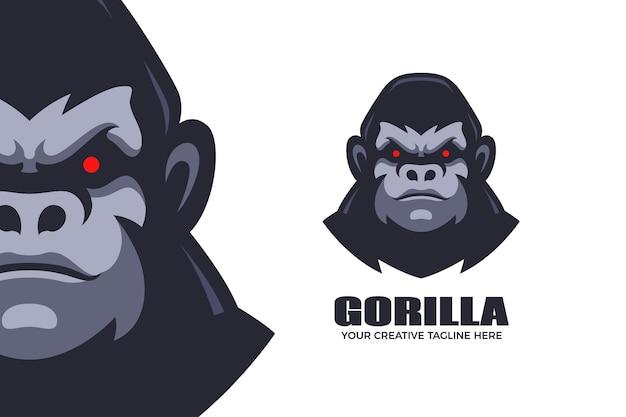 Sjabloon voor logo met wilde gorilla-mascotte