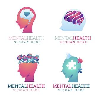 Sjabloon voor logo's met gradiënt voor geestelijke gezondheid