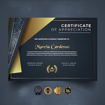 Sjabloon voor luxe certificaat van prestatie met kleurovergang