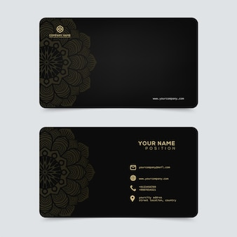 Sjabloon voor luxe en elegante gouden visitekaartjes