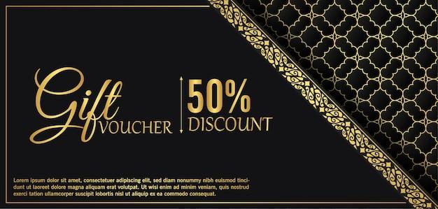 Sjabloon voor luxe gouden cadeaubon
