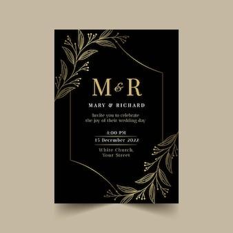 Sjabloon voor luxe huwelijksuitnodiging met kleurovergang