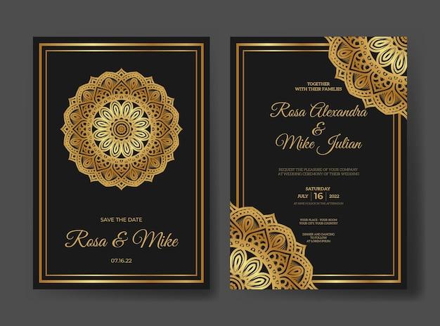 Sjabloon voor luxe huwelijksuitnodiging met mandala-ornament