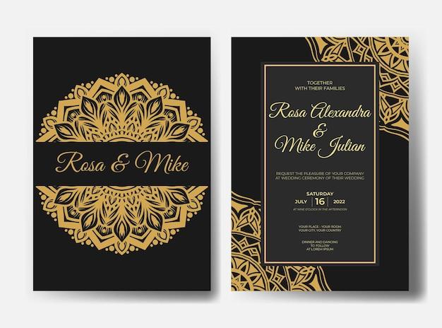 Sjabloon voor luxe mandala-huwelijksuitnodiging