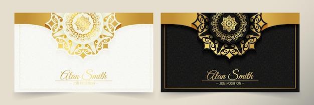 Sjabloon voor luxe mandala-visitekaartjes