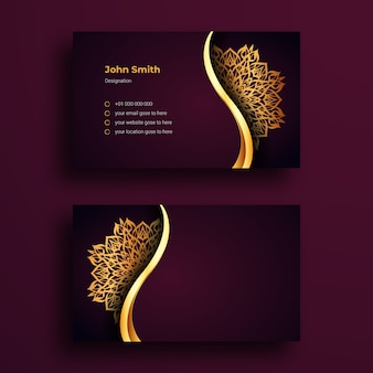 Sjabloon voor luxe visitekaartjes met sier mandala-ontwerp