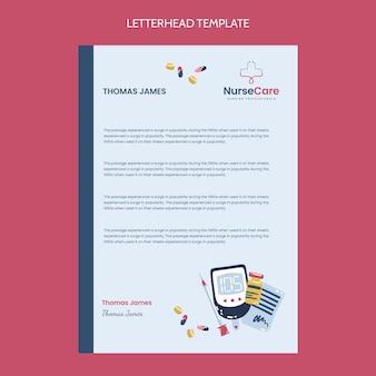 Sjabloon voor medisch briefpapier met plat ontwerp