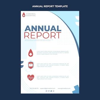 Sjabloon voor medisch jaarverslag met plat ontwerp