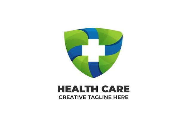 Sjabloon voor medisch logo met gradiënt in de gezondheidszorg