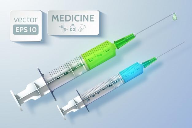 Sjabloon voor medische zorg met spuiten vóór injectie in realistische stijl op licht geïsoleerde illustratie
