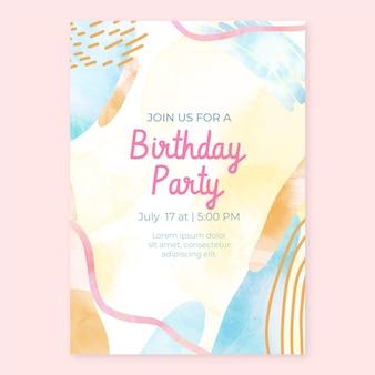 Sjabloon voor met de hand getekende uitnodiging voor een verjaardagsfeestje