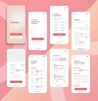 Sjabloon voor mobiele applicatie voor online boekingsservice.