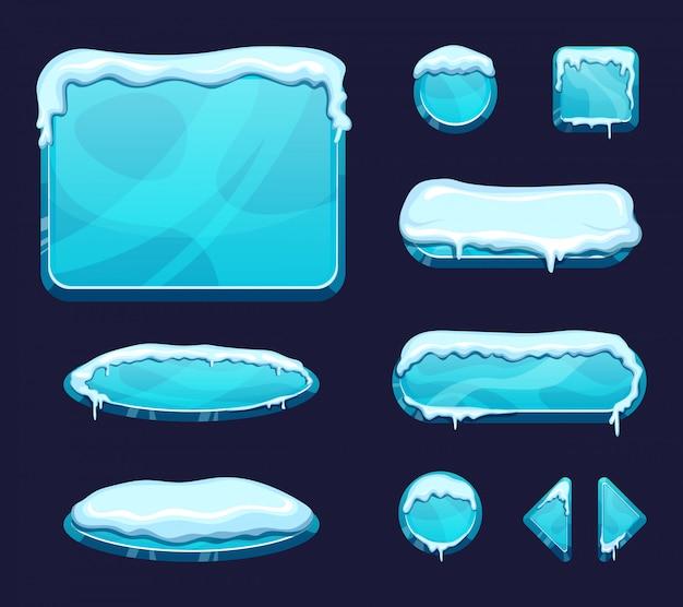 Sjabloon voor mobiele game ui in cartoon stijl. glanzende knoppen en panelen met ijs en sneeuw caps