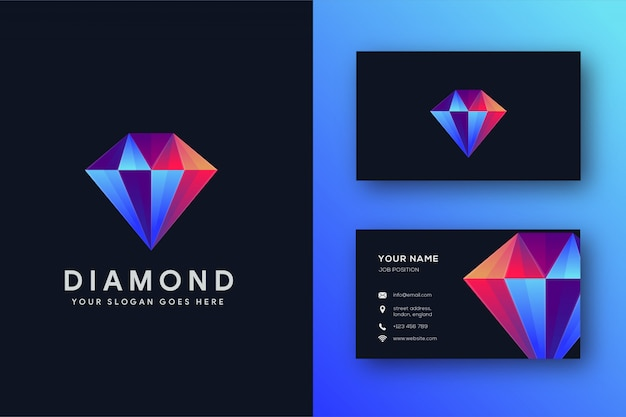 Sjabloon voor modern diamant-logo en visitekaartjes