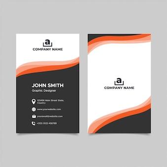 Sjabloon voor modern elegantie zwart oranje visitekaartjes