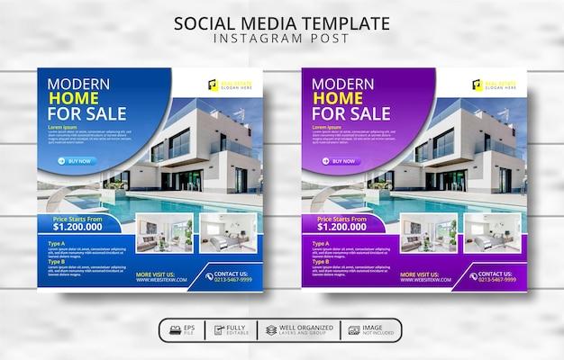 Sjabloon voor modern huis en onroerend goed voor sociale media