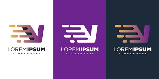 Sjabloon voor modern letter v tech-logo