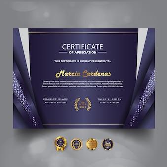 Sjabloon voor modern luxe certificaat van prestatie