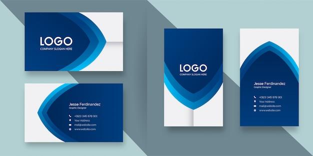 Sjabloon voor modern professioneel donkerblauw kleur visitekaartjes