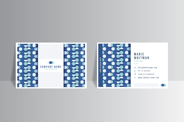 Sjabloon voor modern visitekaartjes met blauwe vormen