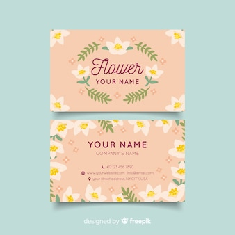 Sjabloon voor modern visitekaartjes met florale stijl