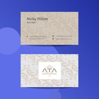 Sjabloon voor modern visitekaartjes met sieraad achtergrond