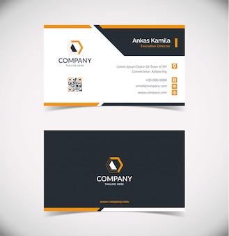 Sjabloon voor modern zwart en oranje geometrische visitekaartjes