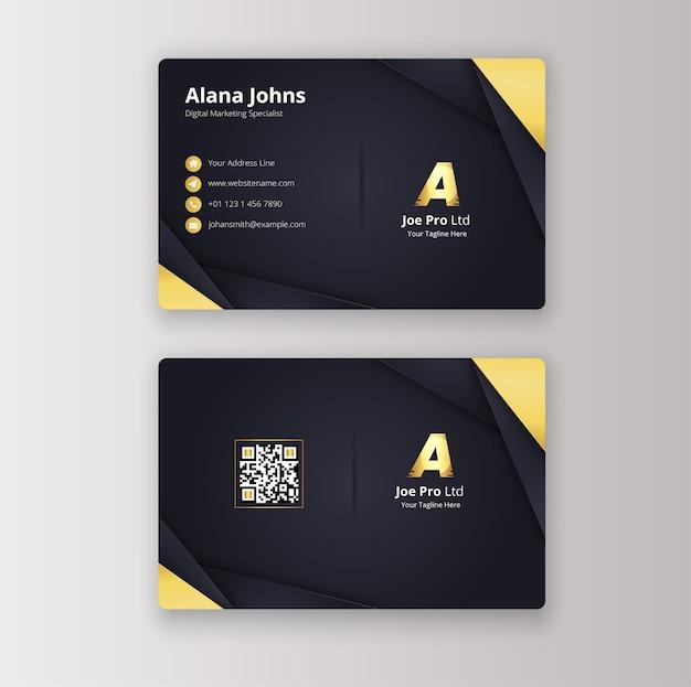 Sjabloon voor modern zwart goud visitekaartjes