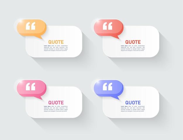 Sjabloon voor moderne citaten bubbeldozen