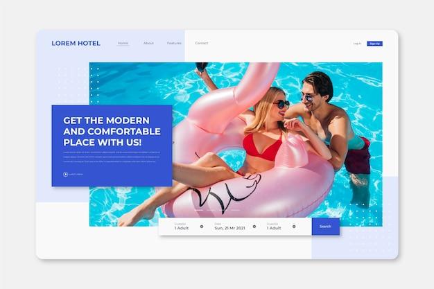 Sjabloon voor moderne hotellandingspagina met foto