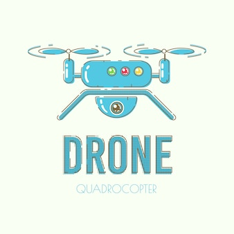Sjabloon voor moderne quadcopter drone vector banner