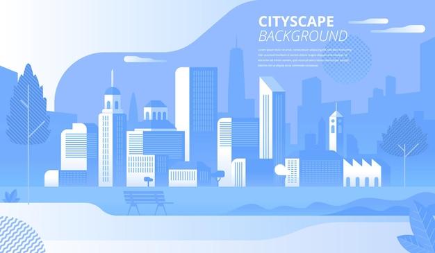 Sjabloon voor moderne stadsgezicht platte spandoek vector. stedelijk landschap, skyline decoratief achtergrondontwerp. leeg parkpanorama zonder mensen. stad architectuur cartoon afbeelding met tekst ruimte