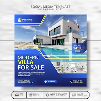 Sjabloon voor moderne villa's en onroerend goed voor sociale media