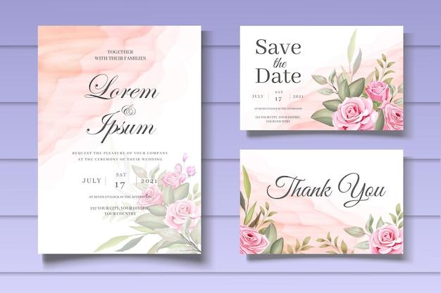 Sjabloon voor mooie bloemen bruiloft uitnodigingskaart