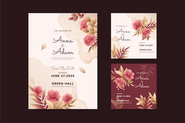Sjabloon voor mooie en elegante huwelijksuitnodigingen