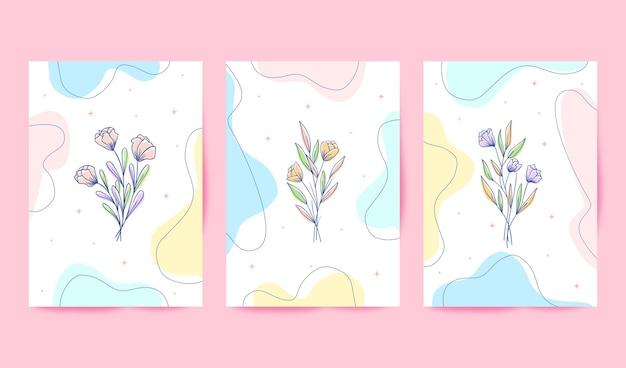 Sjabloon voor mooie en kleurrijke bloemenkaarten