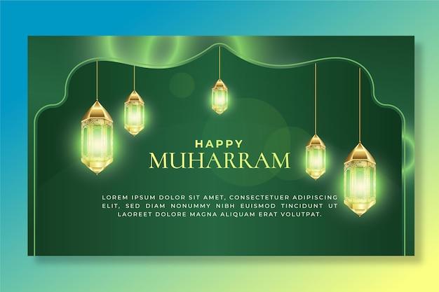 Sjabloon voor muharram-banner met verloop