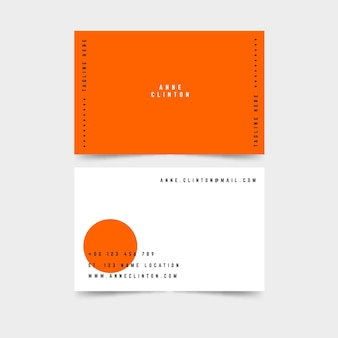 Sjabloon voor neon oranje visitekaartjes