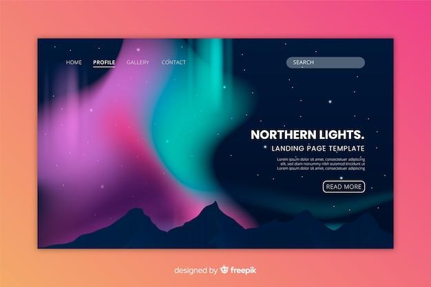 Sjabloon voor noordelijke lichten kleurrijke bestemmingspagina