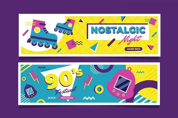 Sjabloon voor nostalgische 90's banners in vlakke stijl