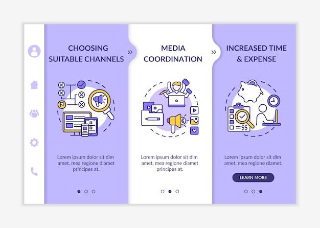 Sjabloon voor onboarding van multichannel marketing. selectie van geschikte kanalen, mediacoördinatie. responsieve mobiele website met pictogrammen.