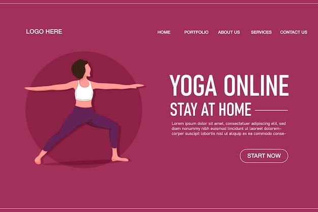Sjabloon voor online bestemmingspagina voor yoga met meisje dat yoga doet