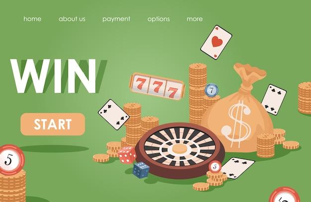 Sjabloon voor online casino platte spandoek. gouden munten, speelkaarten, fruitmachines, pokerchips, roulette.
