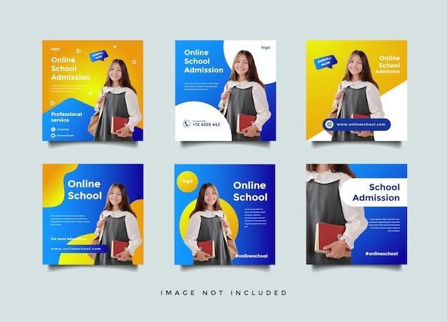 Sjabloon voor online schoolonderwijs sociale media