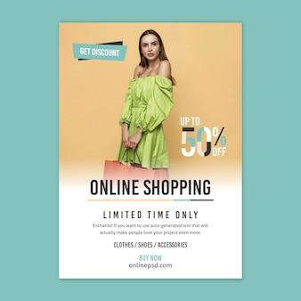 Sjabloon voor online winkelen folder met foto