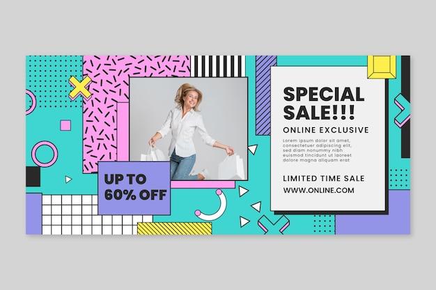 Sjabloon voor online winkelen horizontale spandoek