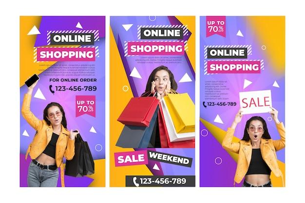Sjabloon voor online winkelen instagram-verhalen