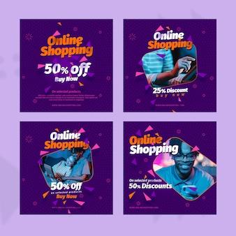 Sjabloon voor online winkelen op sociale media