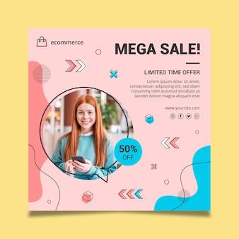 Sjabloon voor online winkelen vierkante folder