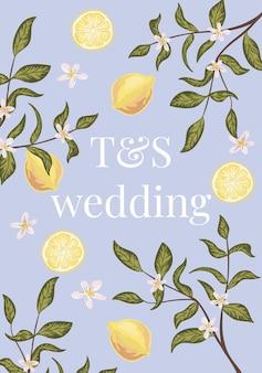 Sjabloon voor ontwerp met citroenen, bloemen en tak. kleurrijke hand getekende vector. botanisch label.